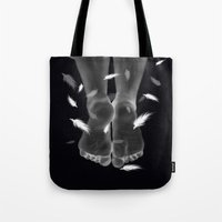 halo Tote Bags featuring Halo by Christie Kovalchick