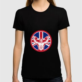 British Physical Fitness Union Jack Flag Icon T-shirt