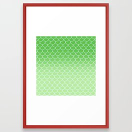 Ombre Mermaid Scales - Green Framed Art Print