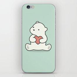 Kawaii Cute Polar Bear With Heart iPhone Skin