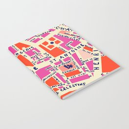 paris map pink Notebook