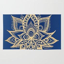Gold and Blue Lotus Flower Mandala Rug