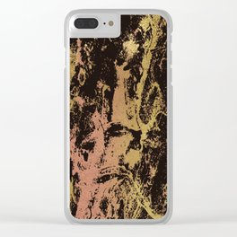 Rose gold & gold marbled Clear iPhone Case