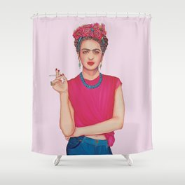 Frida in the Pink with Floral Bouquet Shower Curtain