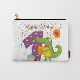 Alligator Birthday One Years Old Carry-All Pouch