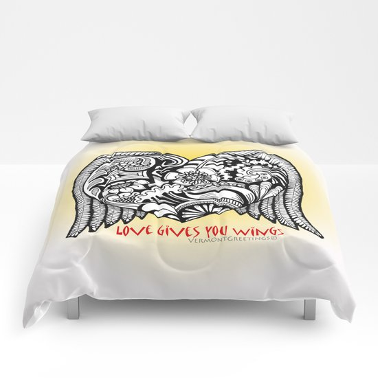 Love Gives You Wings A Zentangle Illustration for Lovers Comforters