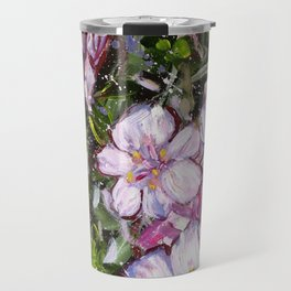 LET LIFE BE BEAUTIFUL LIKE SPRING AZALEA - abstract floral painting by HSIN LIN / HSIN LIN ART Travel Mug