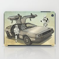 watch iPad Cases featuring Lost, searching for the DeathStarr _ 2 Stormtrooopers in a DeLorean  by Vin Zzep