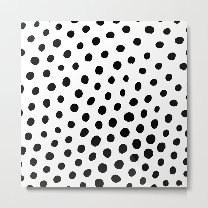 Black and White Dots Metal Print