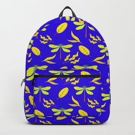 Beautiful golden yellow dragonflies, leaves elegant stylish midnight blue nature spring pattern Backpack
