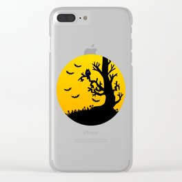 Spooky Owl And Bats Clear iPhone Case