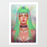 lime green Art Prints featuring Lime by serafleur