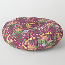 Flowers and strawberries Floor Pillow