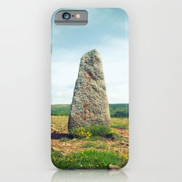 Menhir in the Southern French Nature - Prehistoric Standing Stone in Cham des Bondons France iPhone Case