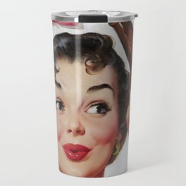 Pin Up Girl and Beer Vintage Art Travel Mug