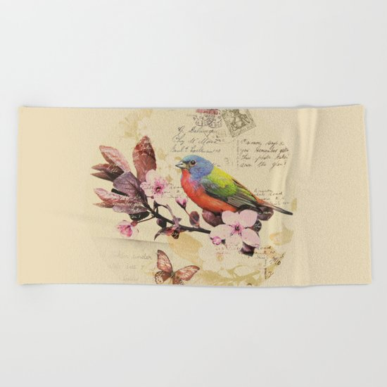 Vintage illustration with bird and butterfly Beach Towel