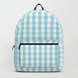 Sky Blue & White Gingham Check Tartan Check Backpack