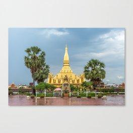 King Sethathirath Statue & Pha That Luang I, Vientiane, Laos Canvas Print