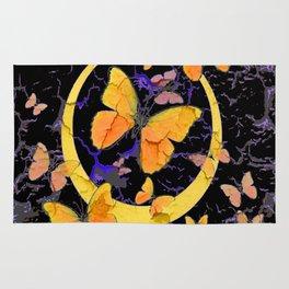BLACK & YELLOW BUTTERFLIES VIGNETTE ABSTRACT ART Rug