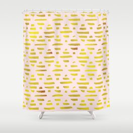 Gold Abstract Lines Pattern Shower Curtain
