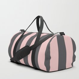 Millennial Pink Blush Coco Brown Neapolitan Stripes Pattern Duffle Bag