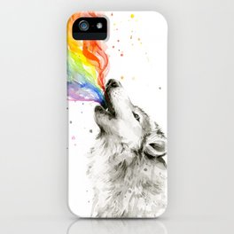 Wolf Rainbow Watercolor Howling Animal Whimsical Animals iPhone Case