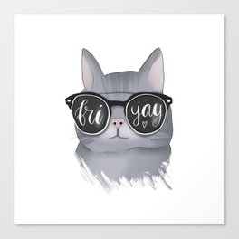 Cat With Glasses Friyay Canvas Print