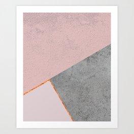 BLUSH GRAY COPPER GEOMETRICAL Art Print