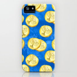 Hanukkah Gold Wrapped Chocolate Coins (Gelt) With Menorah iPhone Case