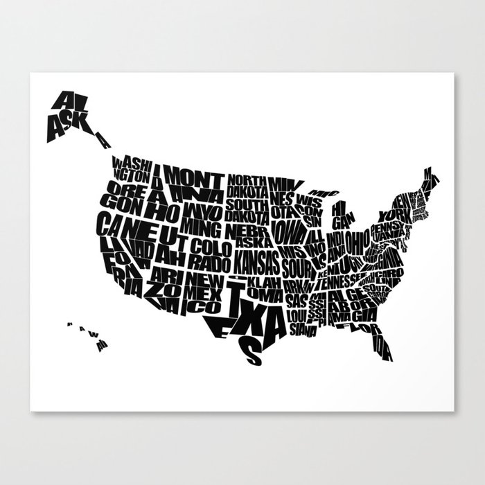 USA Word Map Black and White Canvas Print by inkofmegraphics