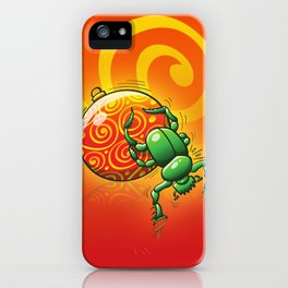 Green Beetle Pushing a Christmas Ball iPhone Case