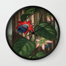 Winged Passion Flowers : Temple of Flora Wall Clock
