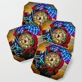 Roses and Wood Coaster