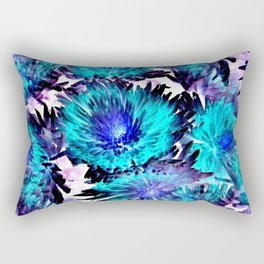 Turquoise Purple Abstract Flowers Rectangular Pillow