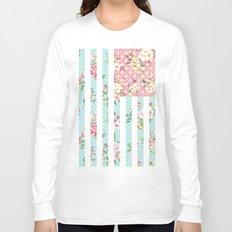 Flower Flag USA Long Sleeve T-shirt