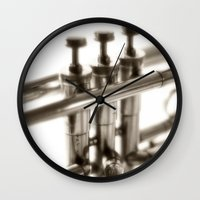 trumpet Wall Clocks featuring trumpet by laika in cosmos