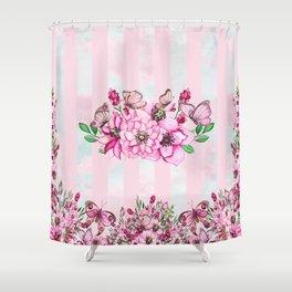 Pretty Pink Flutterbies Shower Curtain