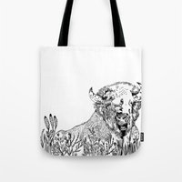 bison Tote Bags featuring Bison  by ARI(Sunha Jung)