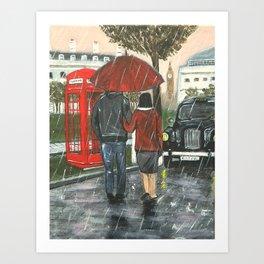 Catching a Cab in the Rain Art Print
