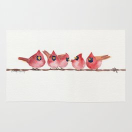 Cardinal on the wire Rug