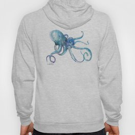 Octopus, turquoise blue, sky blue underwater scene sea world octopus art Hoody