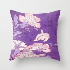 Japanese FLowers Purple Pink Throw Pillow