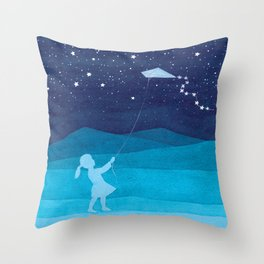 Girl with kite, kids watercolor Throw Pillow