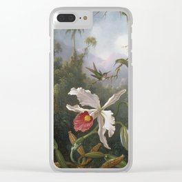Martin Johnson Heade - Two Hummingbirds Above A White Orchid Clear iPhone Case