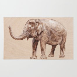Elephant Portrait - Drawing by Burning on Wood - Pyrography Art Rug