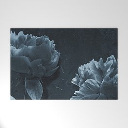 Blue Peonies Welcome Mat