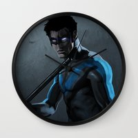 nightwing Wall Clocks featuring Nightwing by Yvan Quinet