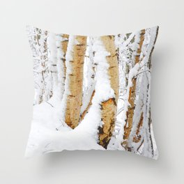 Snow Covered Birch Trees Throw Pillow