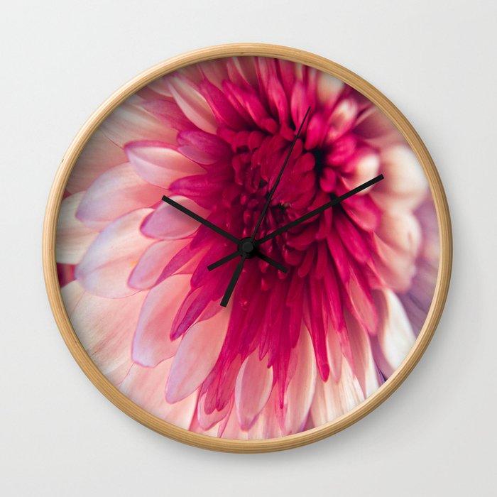 Pink Dahlia Wall Clock