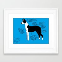 great dane Framed Art Prints featuring Great Dane by Lindsay Beth